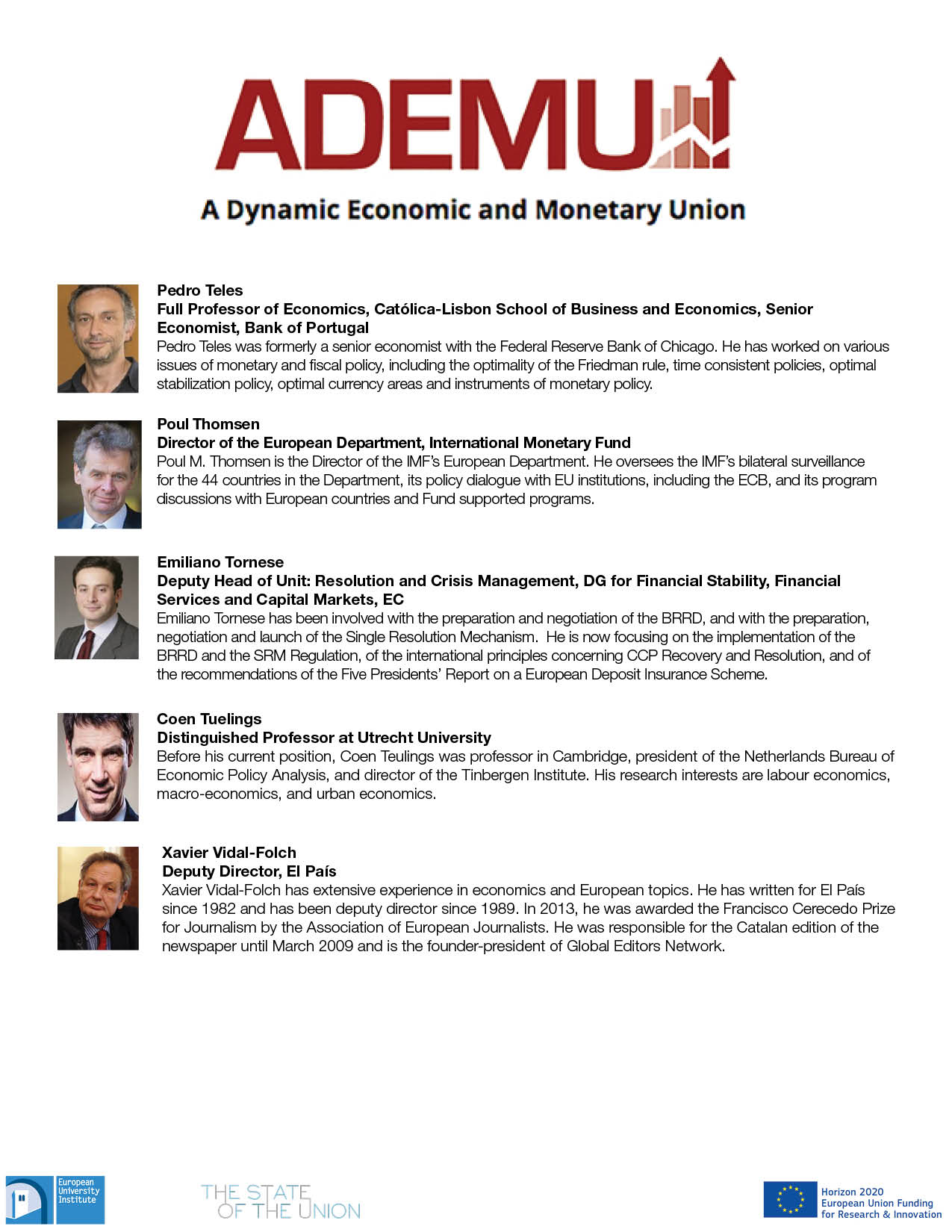 Speakers and discussants (ADEMU closing conference and associated State of  the Union sessions)